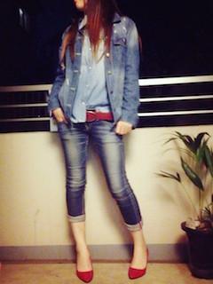 8デニムシャツ×Gジャン×ジーンズ