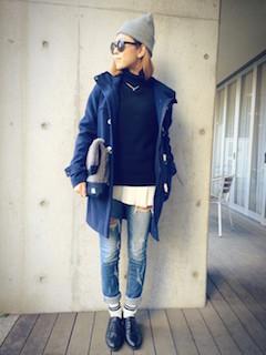 1秋冬のダッフルコート×セーター×ジーンズ