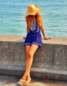 9ミニワンピース×麦わら帽子×リゾートファッションコーデ