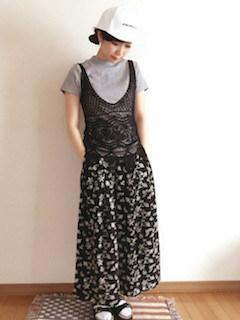 8 guのスカーチョ×Tシャツ×レースキャミソール