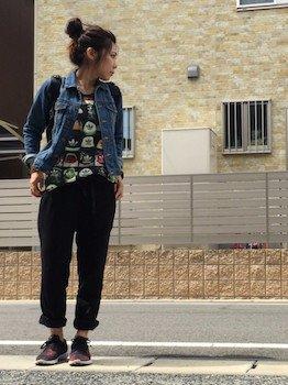 3 SUPRAスニーカー×Gジャン×黒パンツ