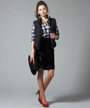 ネルシャツ×タイトスカート×ヒール