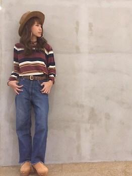 ハット×ボーダーニット×ジーンズ