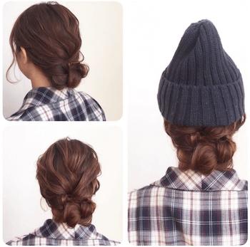 黒ニット帽×編み込みのシニヨンのニット帽に合う髪型