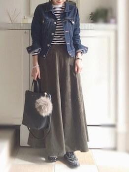 マキシスカート×ボーダーTシャツ×Gジャン