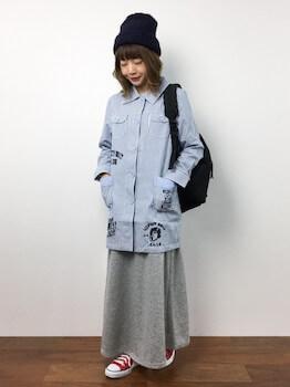 ショップコート×マキシスカート×ニット帽