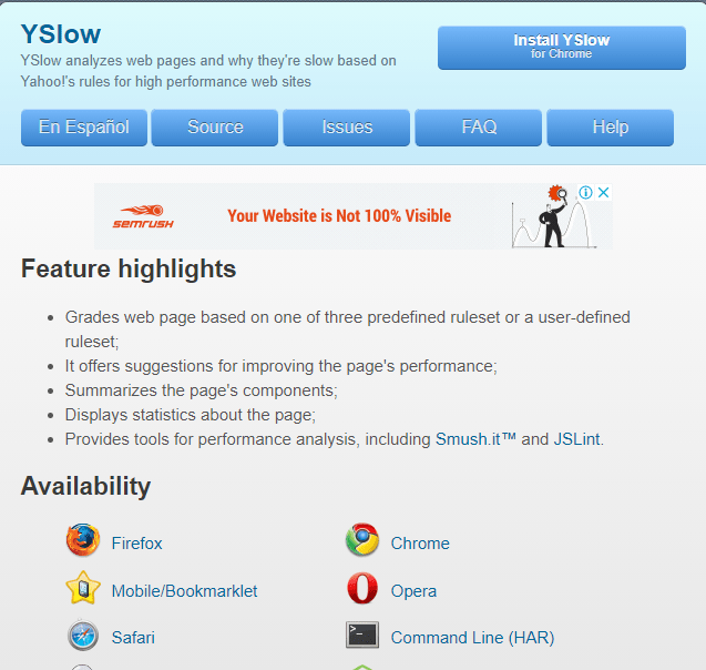 YSlow open source page speed