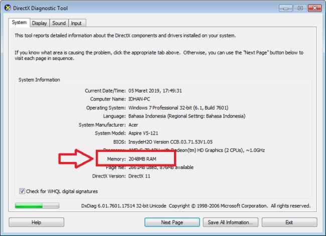 cara mengecek ram laptop dengan dxdiag