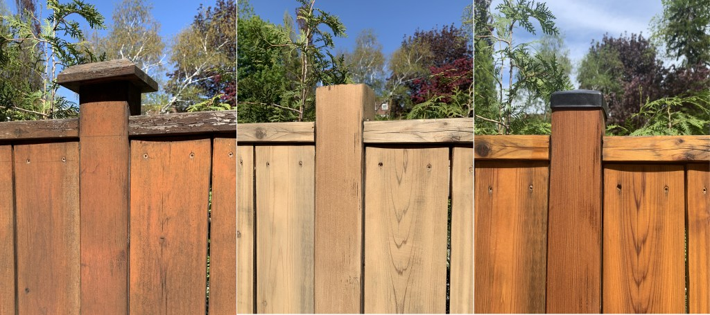 Fence Renovation - Old Fence / After Sanding / After Painting