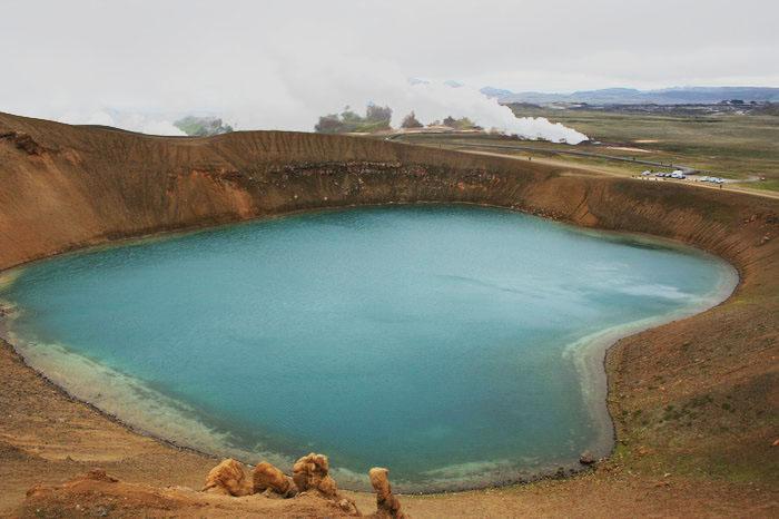 Кратерное озеро Исландии. Фото