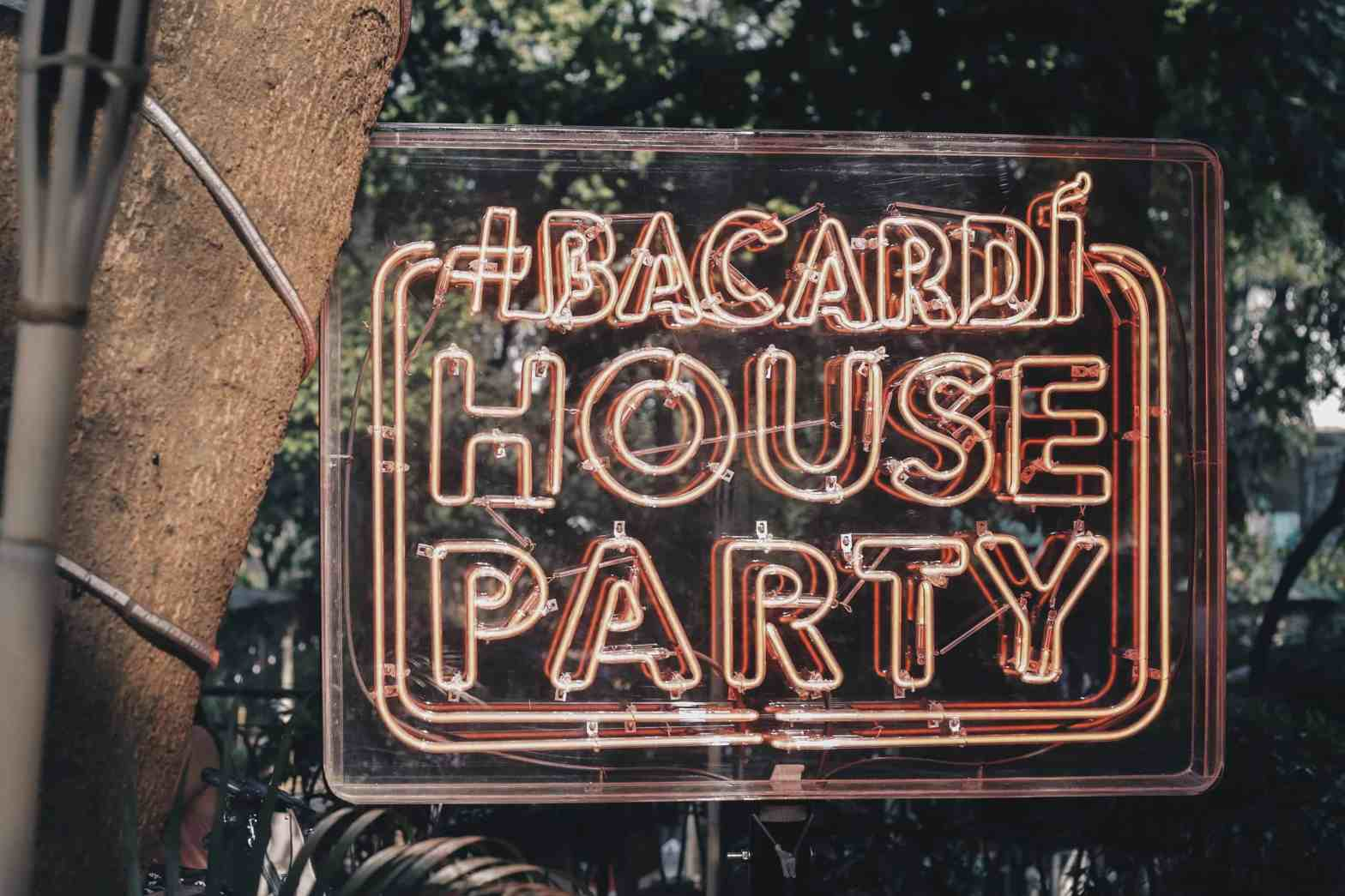 Bacardi House Party Neon sign