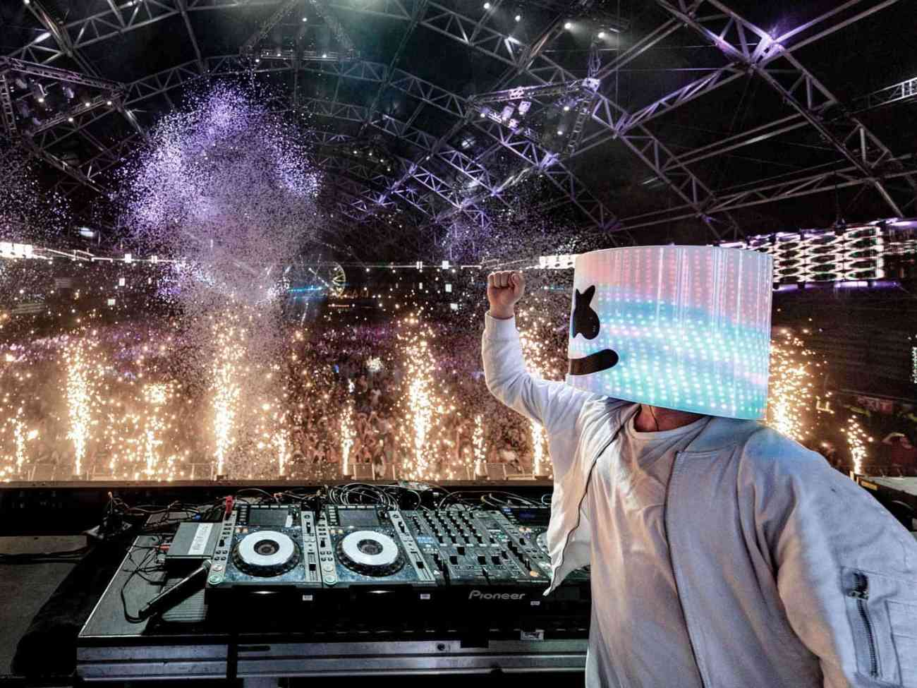 Marshmello performs live.