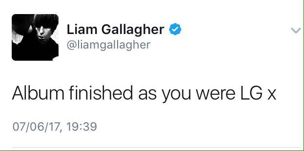 Liam Gallagher tweets signature sign off