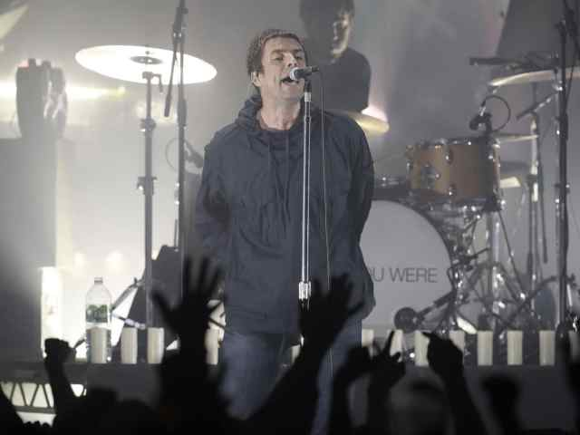 Liam Gallagher performing in Manchester