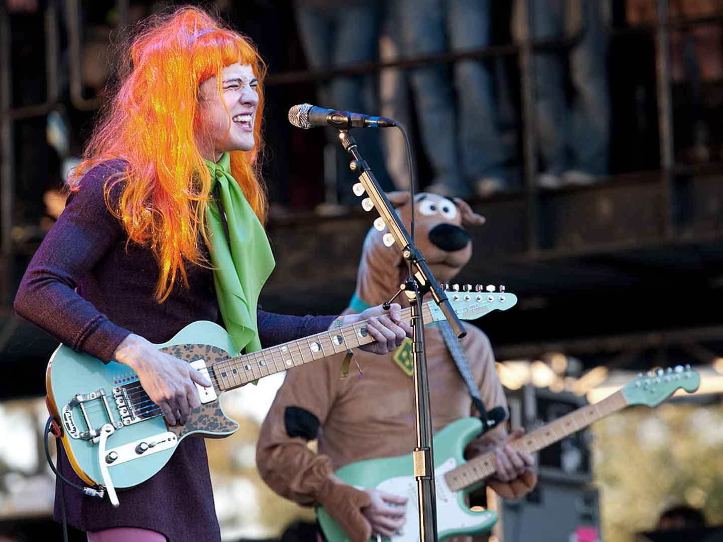 MGMT performing at Voodoo Fest 2010 dressed as characters from Scooby Doo