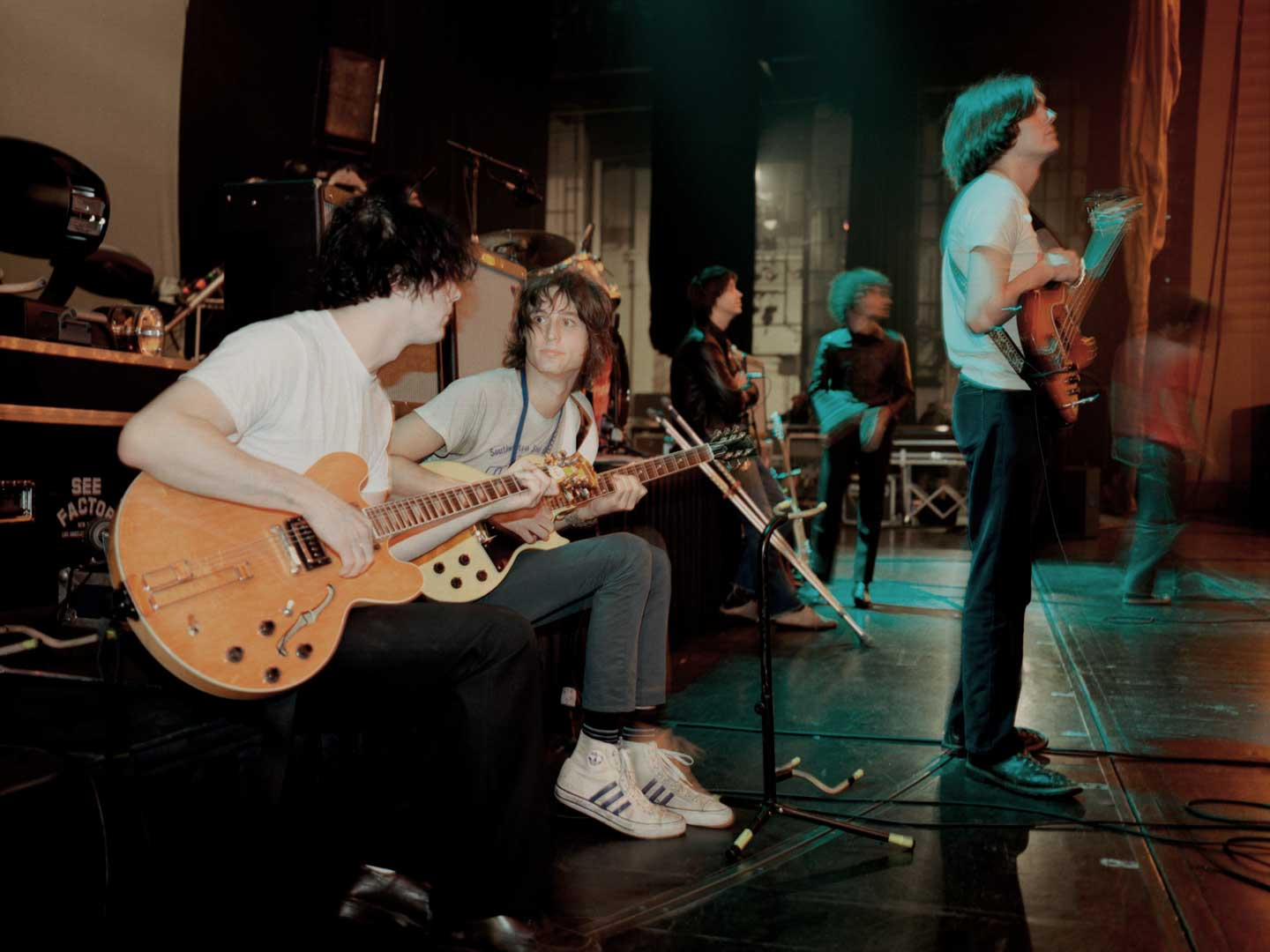 The Strokes rehearsing with Jack White of The White Stripes