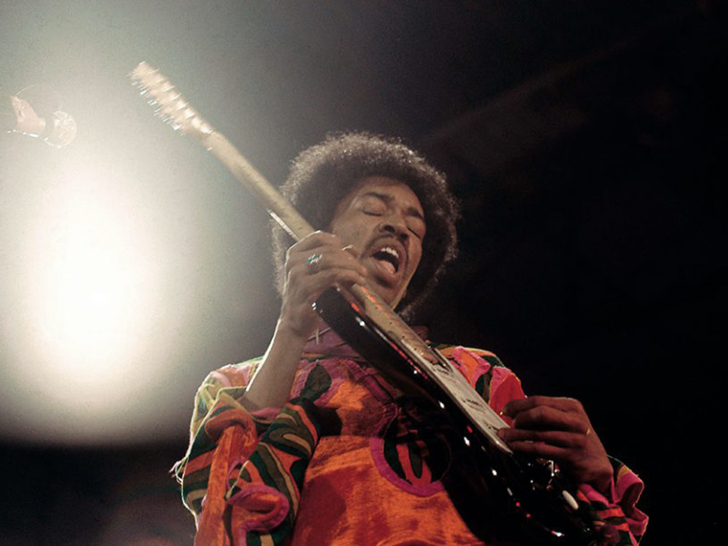 Jimi Hendrix performing live at the Isle of Wright