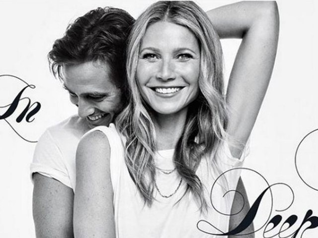 Gwyneth Paltrow and Brad Falchuk on the cover of Goop