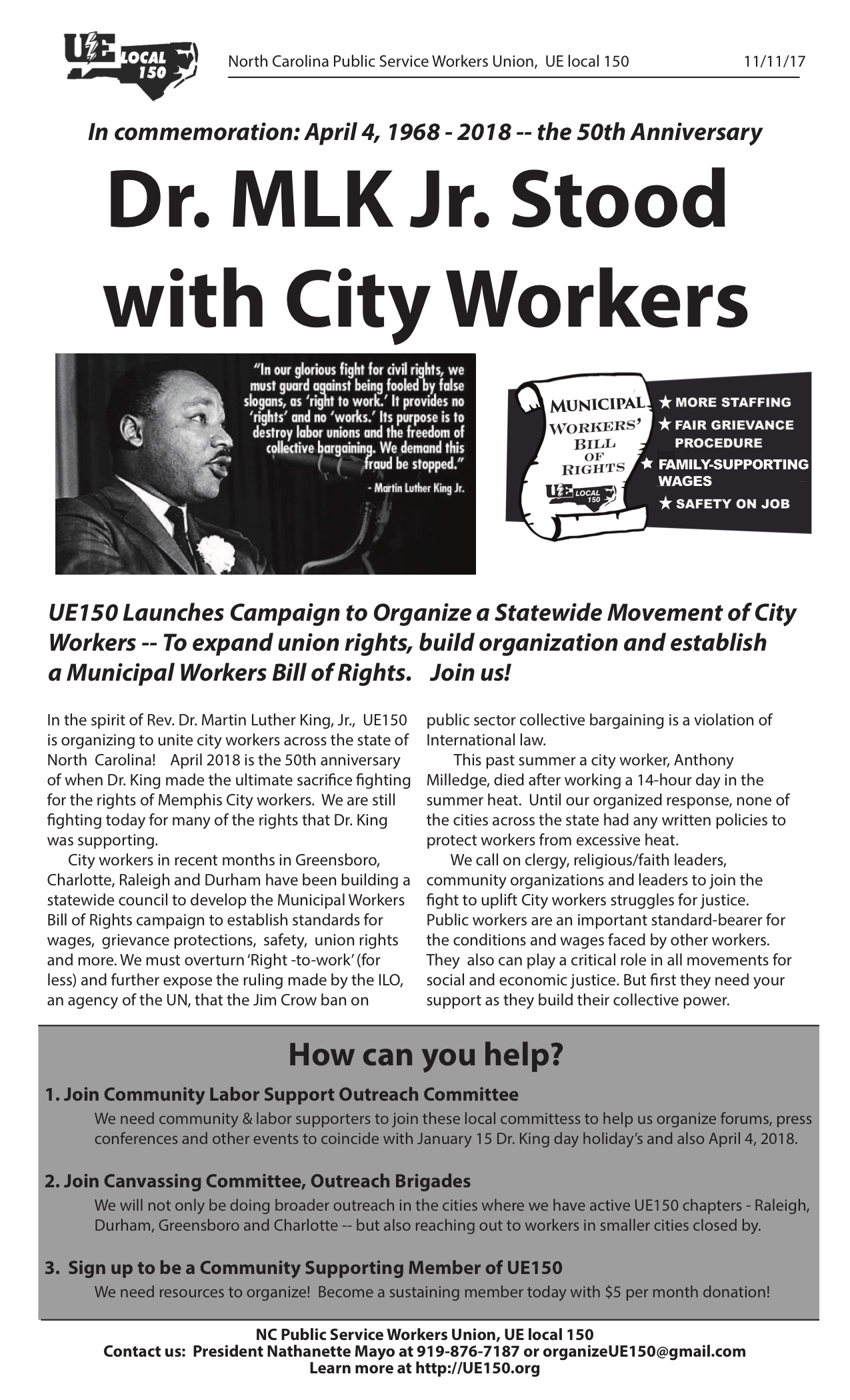 Dr Mlk Jr Stood With City Workers Ue Local 150