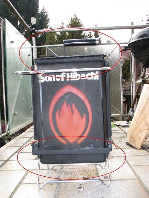 Abkühl-Stellung zum ersticken der Kohlen und um den Grill dann in die Feuerfeste Tasche zu verpacken.
