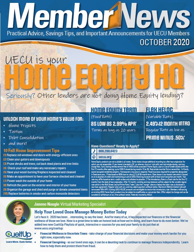 Image of the front page of October 2020 Member News