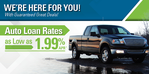 Auto Loan with image of pick-up truck noting as low as rate of 1.99%