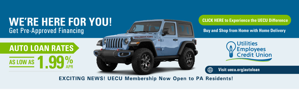Auto loan with image of Jeep noting as low as 1.99% rate and notice of membership open to PA residents