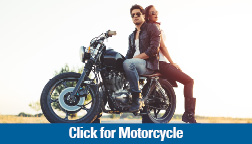 Motorcycle loan picture of man and woman seated on motorcycle