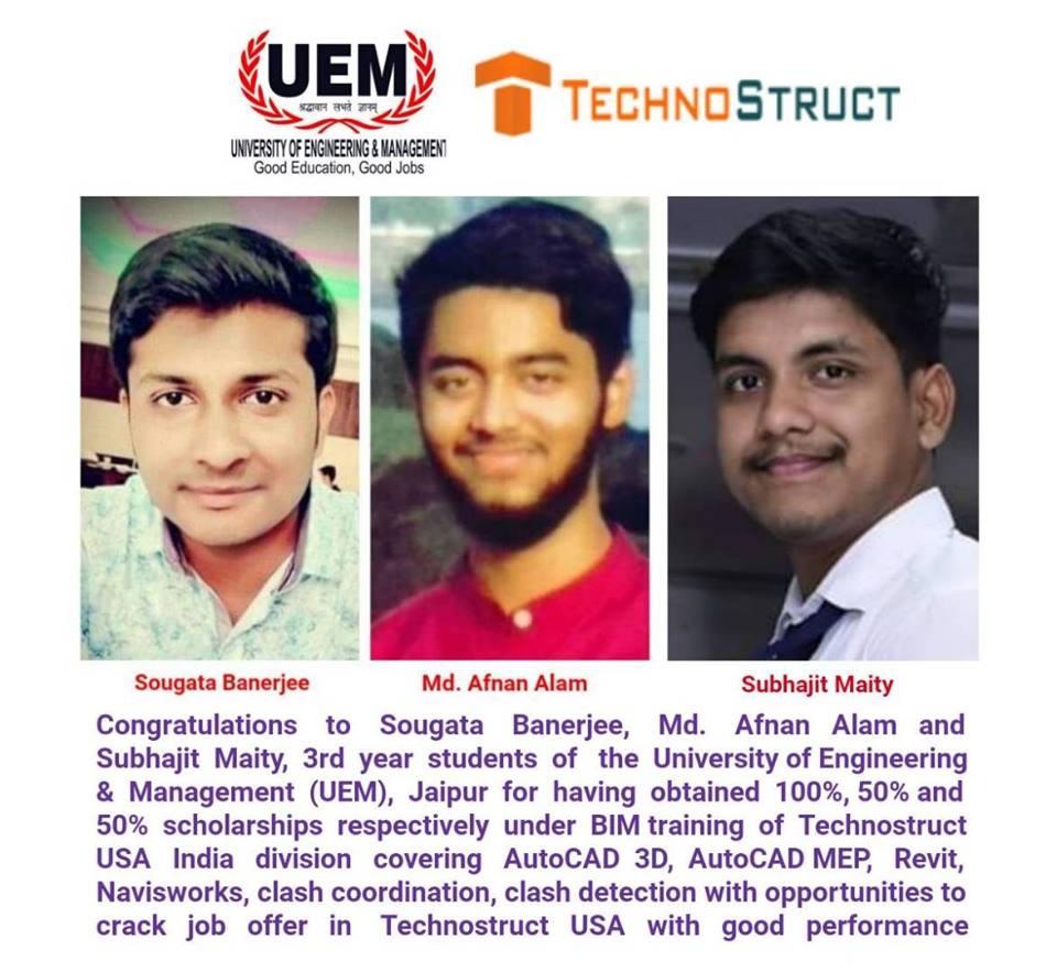 3 students of UEM Jaipur have obtained scholarships under BIM
