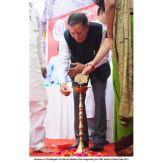 Sri Shekhar Dutt, Hon'ble Governor of Chhattisgarh lightening the candle for inauguration of UEM Technical Model Exhibition.