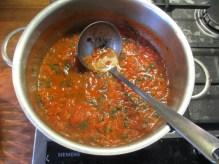 Prepare a very! hearty tomato sugo.