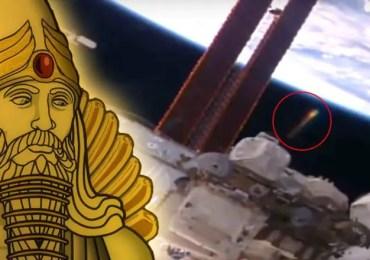 Anunnaki golden UFO near ISS