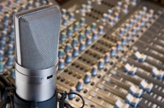 Recording Studio Microphone Mixing Board
