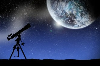 Telescope and Moon Night Sky