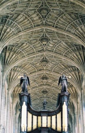 Fan vaulted ceiling in King's College Chapel, with massive pipe organ chamber, 1605.