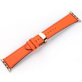 Mobest Epsom Series Calf Leather with Butterfly Clasp Apple Watch Band 42mm-Orange