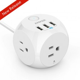 Anker PowerPort Strip 3 with 3 USB Ports – White