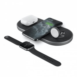 Uniq Aereo Plus 3 in 1 Fast Wireless Charger – Obsidian Knit ( Black )