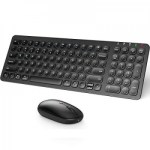 iClever IC-GK15 Combo 2.4G Wireless Keyboard and Mouse – Black [ Included Keyboard Protector ]