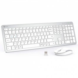IC-GK08 2.4G Full Size Wireless Keyboard with Number Pad – Silver