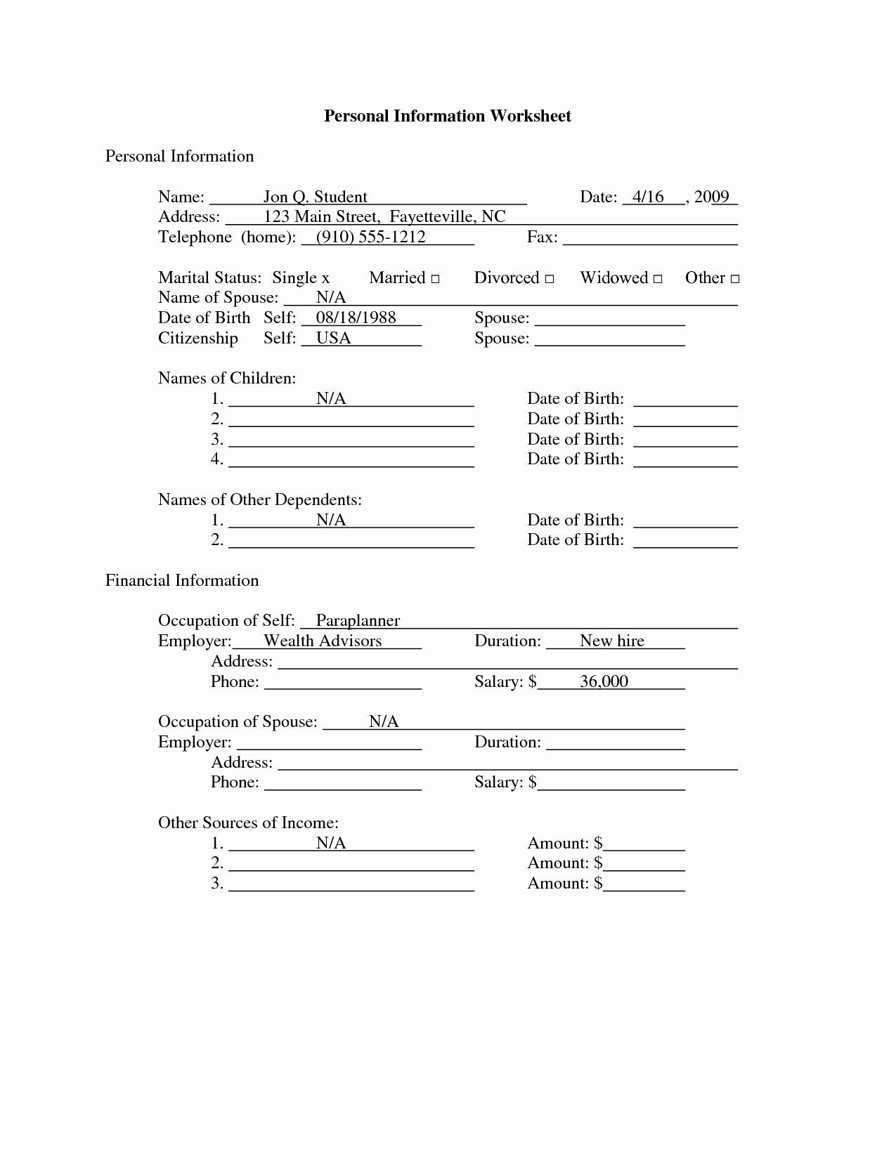 50 Personal Information Form For Students