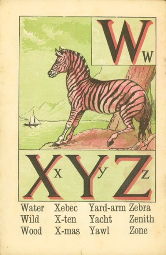 Letters W, X, Y, and Z with an illustration containing words that start with some of those letters.