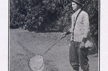 A man standing near trees holding a butterfly net. The photo is black and white and from the early 20th century.