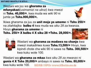 chicken management swahili 013 - Ufugaji wa kuku: namna ya kuanza na mchanganuo wa mapato na matumizi