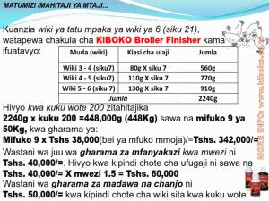 chicken management swahili 020 - Ufugaji wa kuku: namna ya kuanza na mchanganuo wa mapato na matumizi