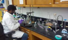 Kishan working in the lab