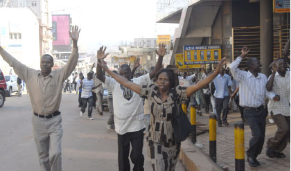 People trying to find safe haven during the riots. Daily Monitor photo.