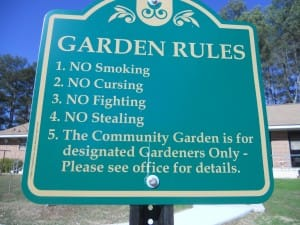 Posted rules at Tobie Grant Manor Community Garden