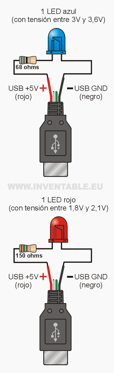 leds to usb