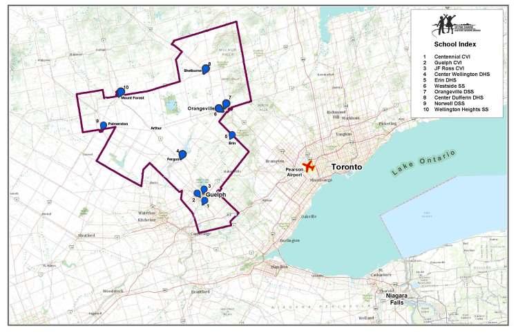 Map UGDSB area and Southern Ontario